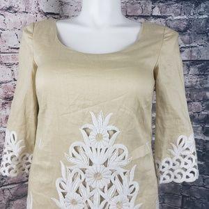 ECI Tan Tunic / Embroidered Dress Size 10